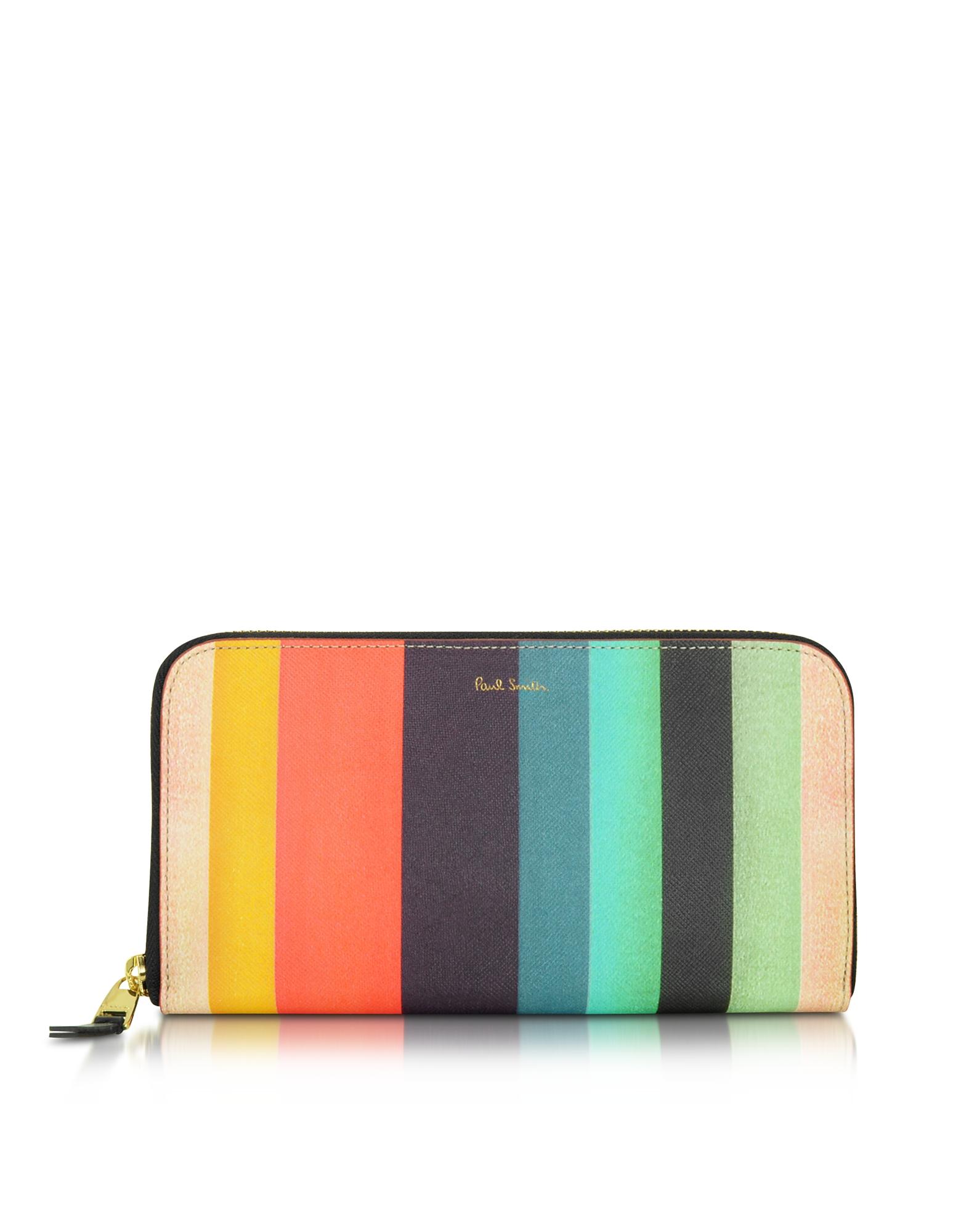 Мужской Кожаные Бумажник с Разноцветными Полосками и Застежкой Молнией