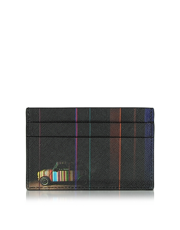 Paul Smith - Men's Black Leather Mini Print Card Holder