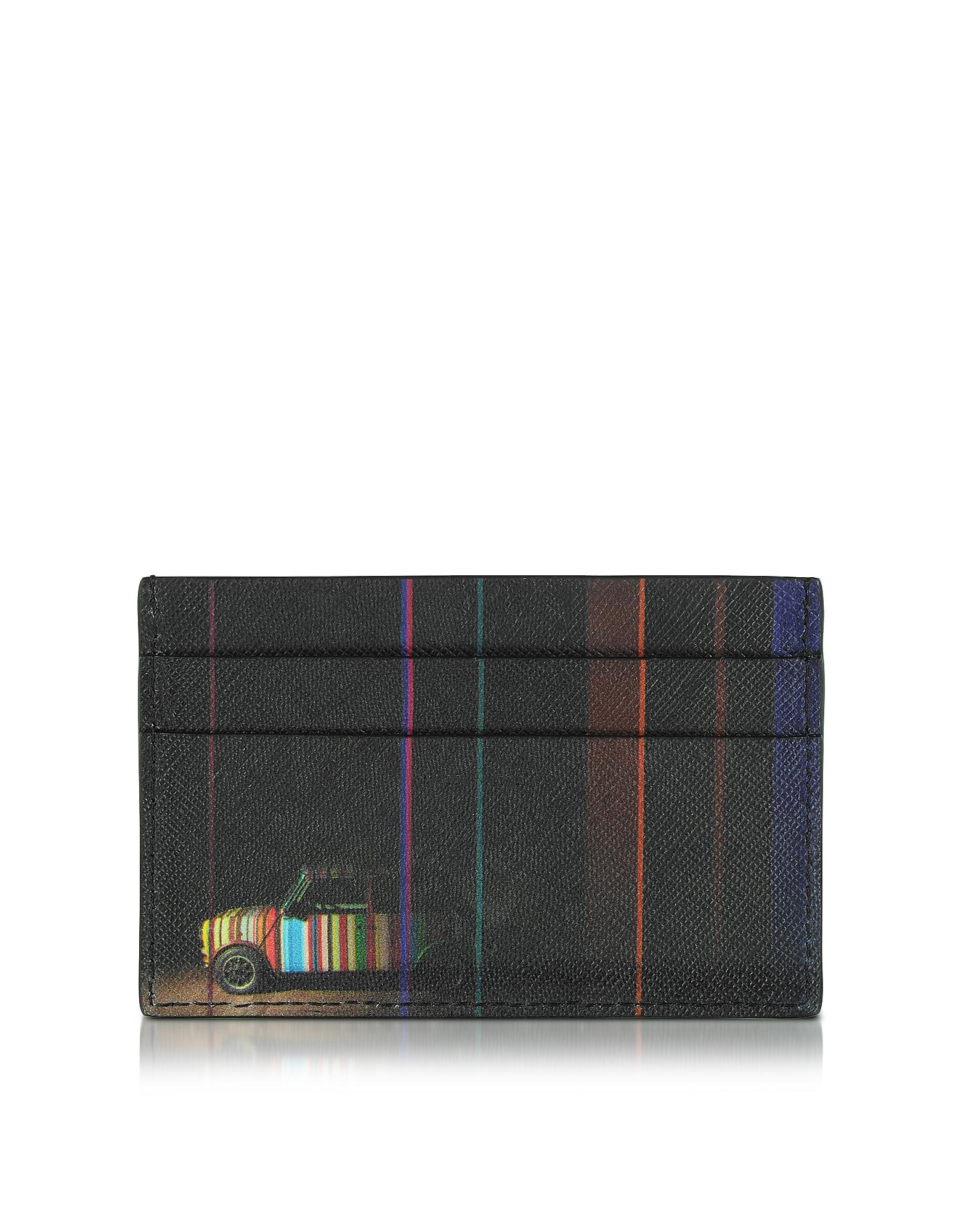 Черный Мужской Кожаный Бумажник с Принтом Мини