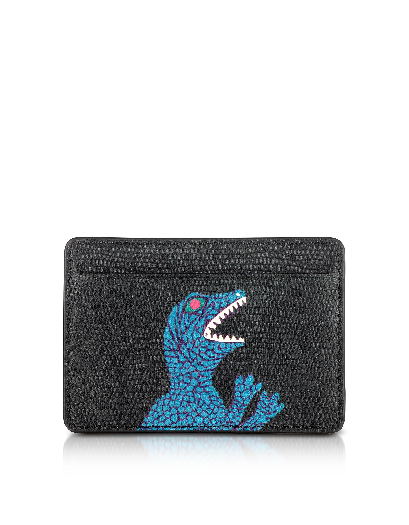CC - Черный Мужской Кожаный Кошелек с Принтом Динозавра