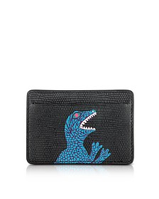 Black Dino Print Leather CC Men's Wallet - Paul Smith