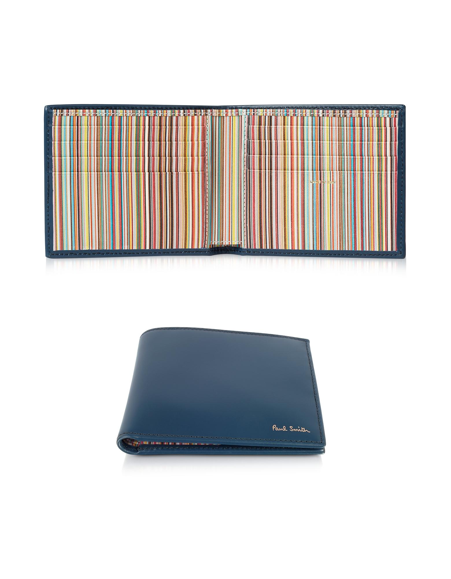 Чернильно-синий Кожаный Мужской Бумажник