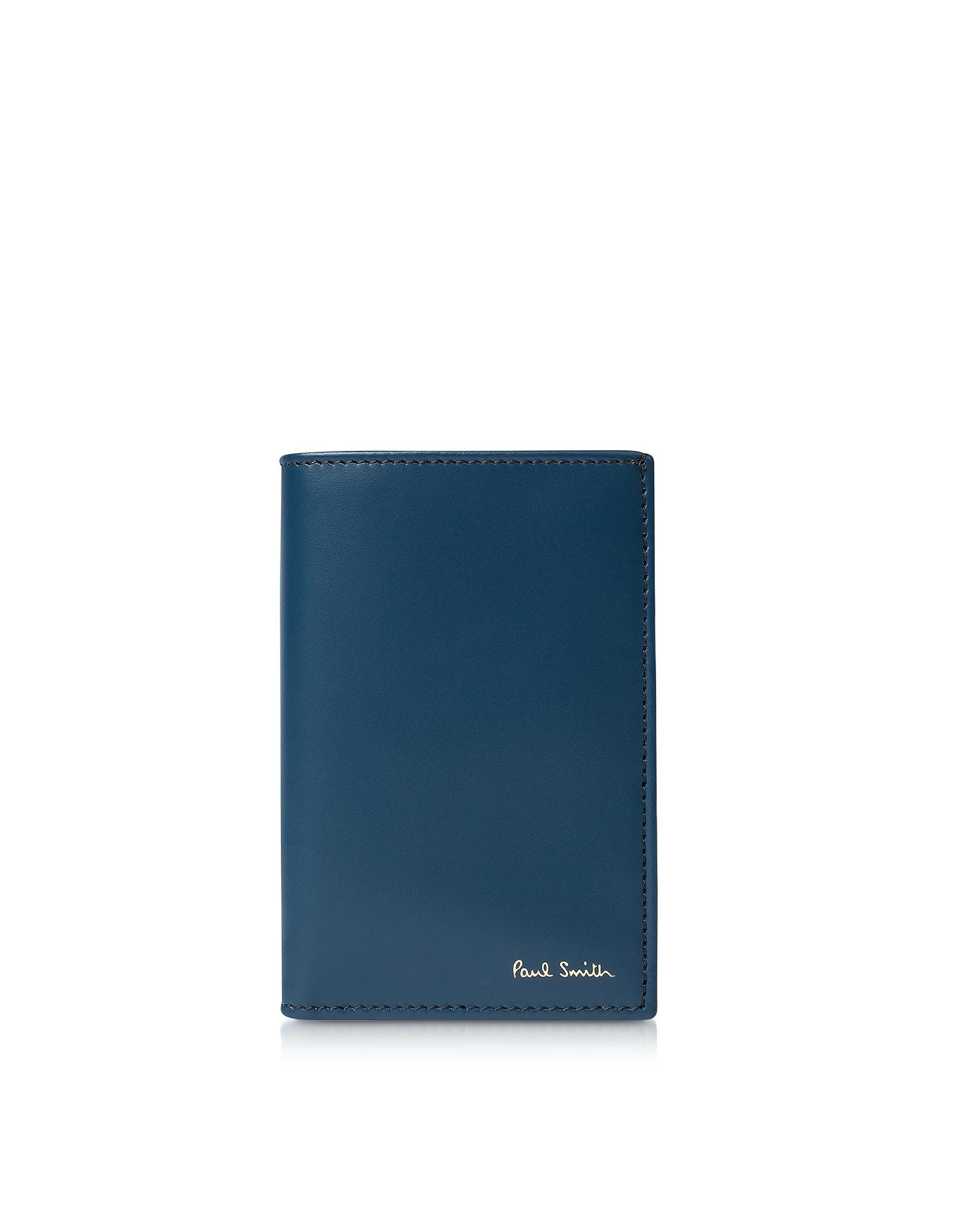 Inky - Темно-синий Кожаный Бумажник для Карт с Принтом Фирменных Полосок
