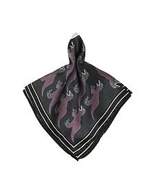 Dino Petrol Woven Silk Men's Pocket Square - Paul Smith