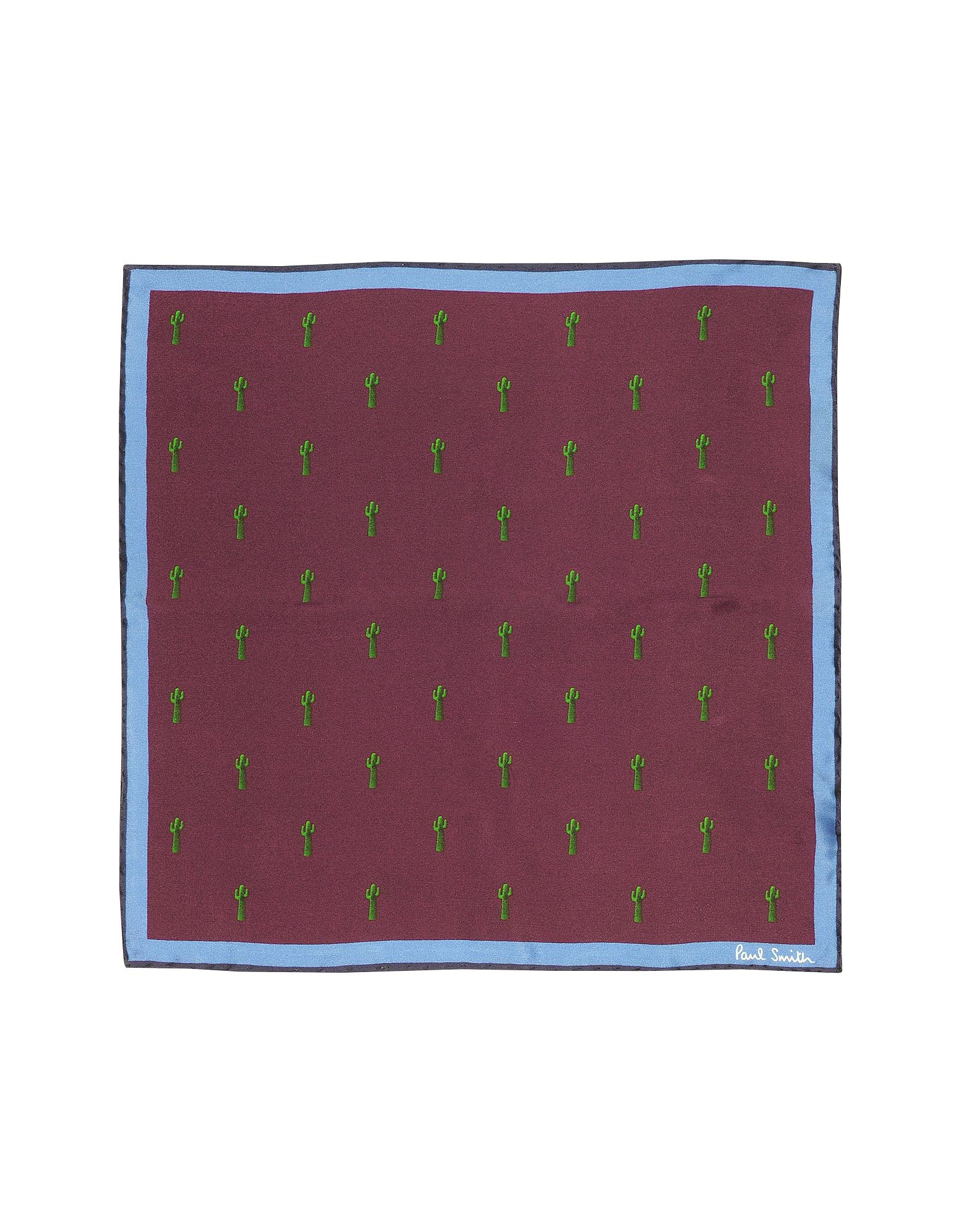 Damson Gufram Cactus Print Silk  Men's Pocket Square от Forzieri.com INT