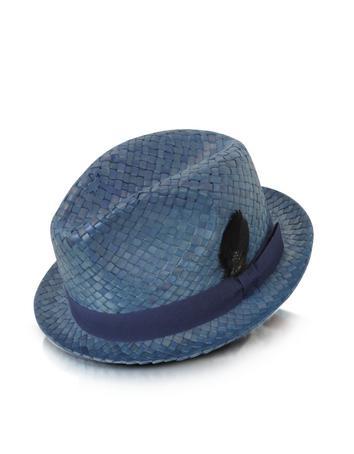 Straw Feather Trilby Hat