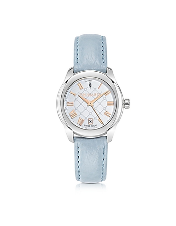 Trussardi - T01 Lady Stainless Steel and Blue Leather Women's Watch