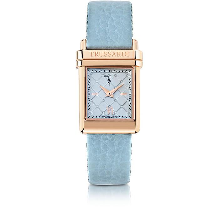 Elegance Rose Gold Stainless Steel w/Light Blue Leather Strap Women's Watch - Trussardi