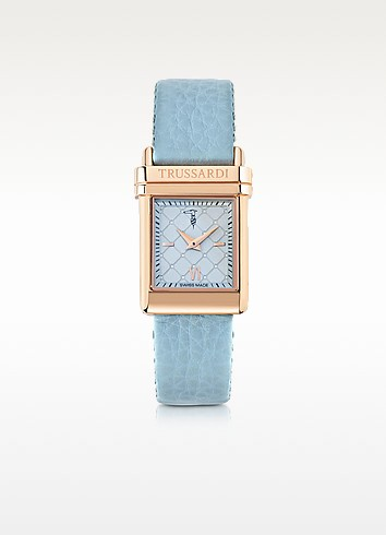 Elegance Rose Gold Stainless Steel w/Light Blue Leather Strap Women's Watch - Trussardi