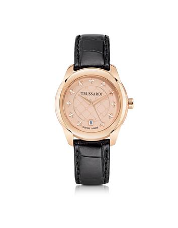 T01 Lady Rose Gold Stainless Steel and Black Leather Women's Watch