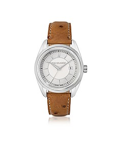 Lady Stainlees Steel w/Ostrich Leather Strap Women's Watch - Trussardi