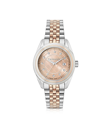 Trussardi - Silver and Rose Gold Stainless Steel Women'w Watch