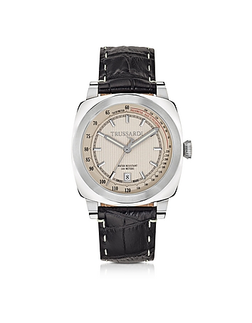 Trussardi - Stainlees Steel w/Croco Embossed Leather Strap men's Watch