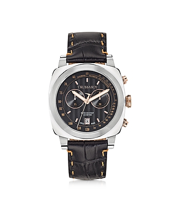 Trussardi - Trussardi 1911 Stainlees Steel W/Croco Leather Strap Men's Chronograph Watch