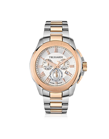 Trussardi - T01 Gent Stainless Steel and Rose Gold PVD Men's Chronograph Watch