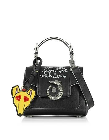 Trussardi - Lovy Black Saffiano Leather Mini Crossbody Bag w/Emoticon Luggage Tag