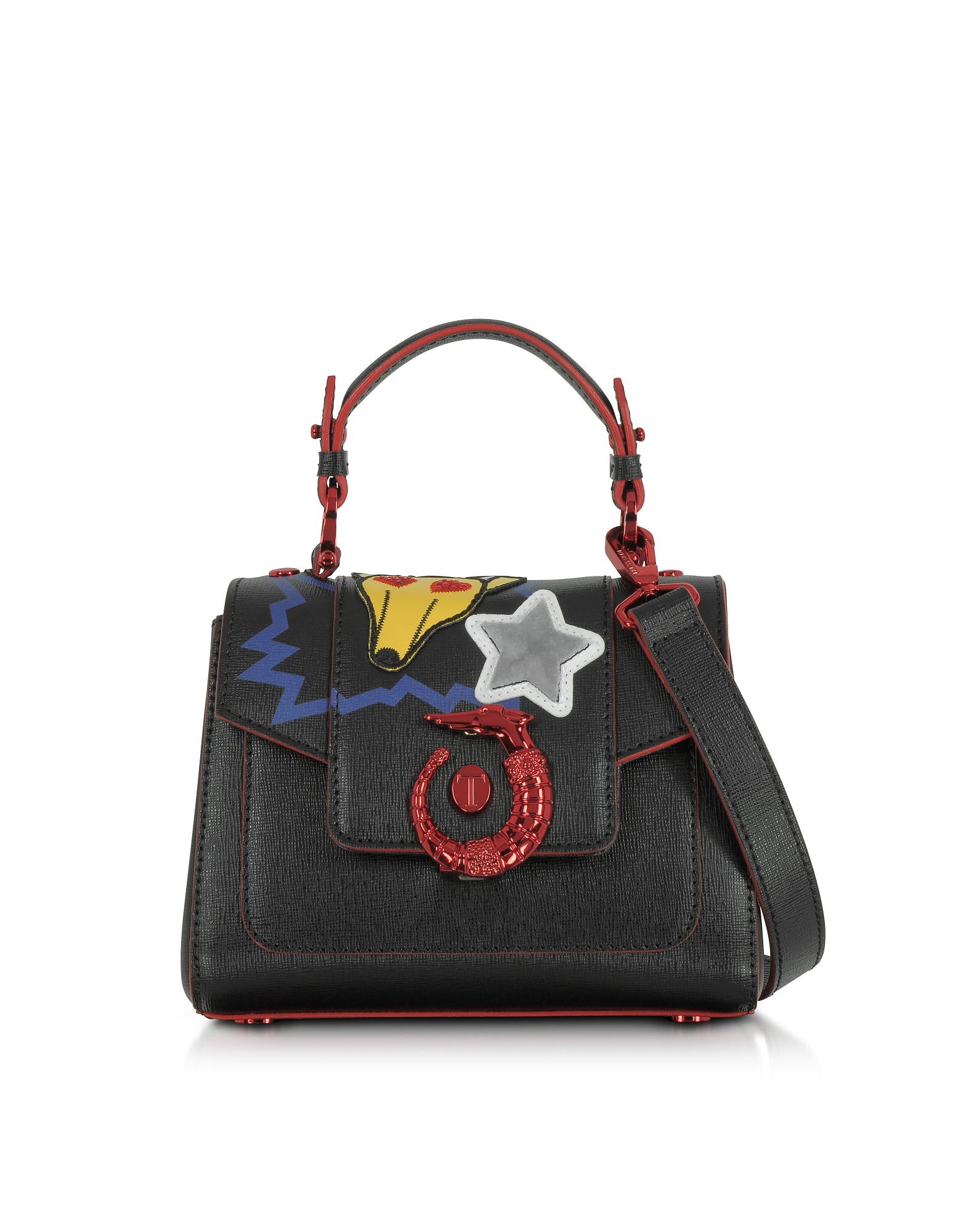 Trussardi Handbags, Lovy Black Saffiano Leather Mini Crossbody Bag w/Emoticon Embroidery