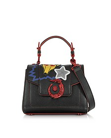 Lovy Black Saffiano Leather Mini Crossbody Bag w/Emoticon Embroidery - Trussardi
