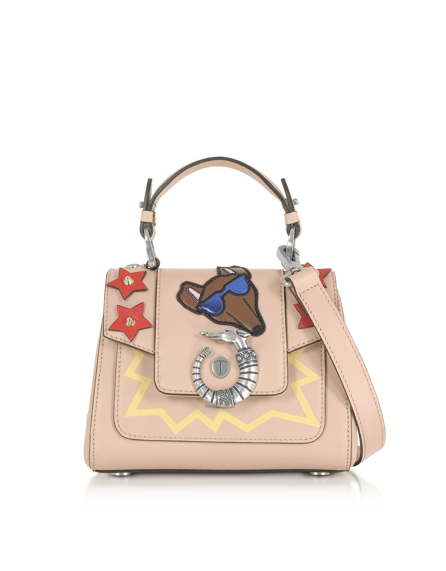 Trussardi Handbags, Lovy Joy Natural Leather Mini Crossbody Bag w/Emoticon Embroidery