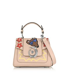 Lovy Joy Natural Leather Mini Crossbody Bag w/Emoticon Embroidery - Trussardi