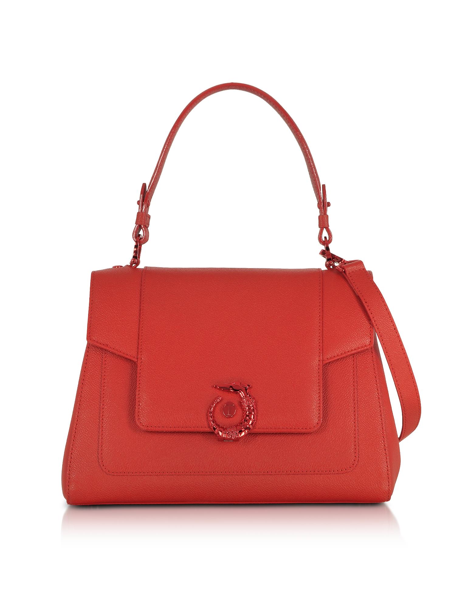 Trussardi Handbags, Lovy Red Crepe Leather Satchel Bag