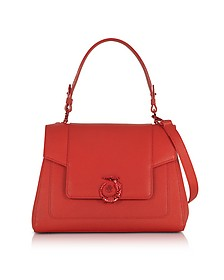 Lovy Red Crepe Leather Satchel Bag - Trussardi