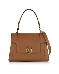 Lovy Tobacco Crepe Leather Satchel Bag - Trussardi