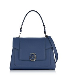 Lovy Blue Jeans Crepe Leather Satchel Bag - Trussardi