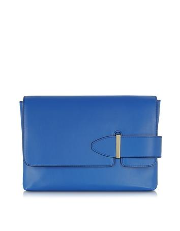 Tila March - Lee Cobalt Leather Clutch