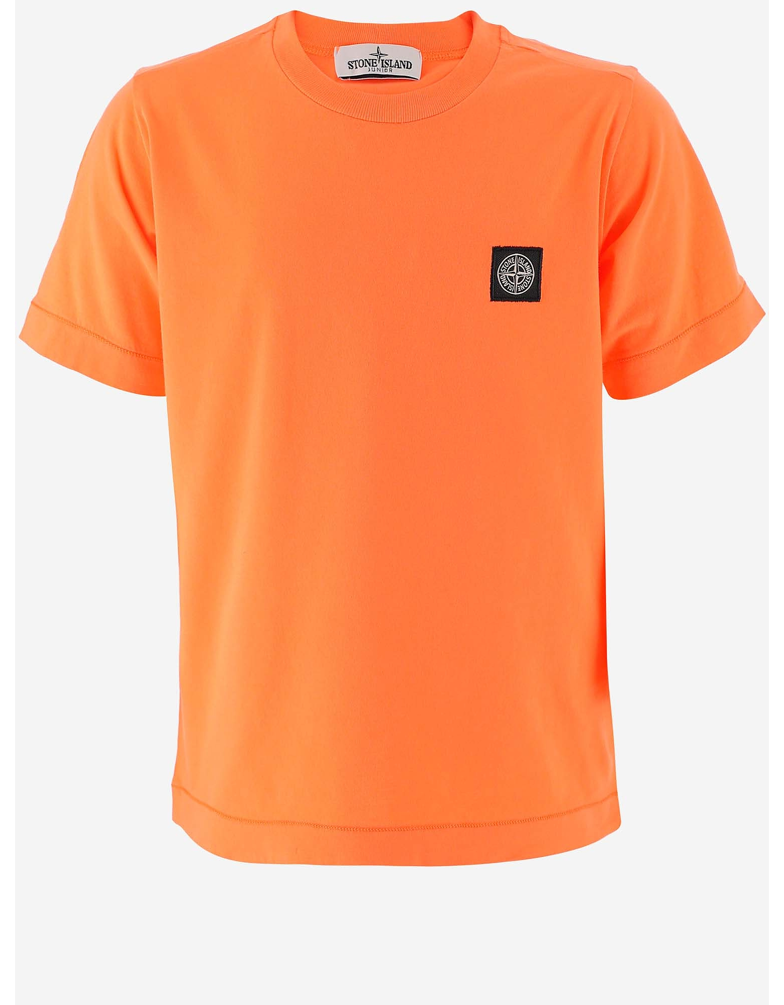 Stone Island Designer Boy's Clothing, Mandarin Pure Cotton Boy's T-Shirt