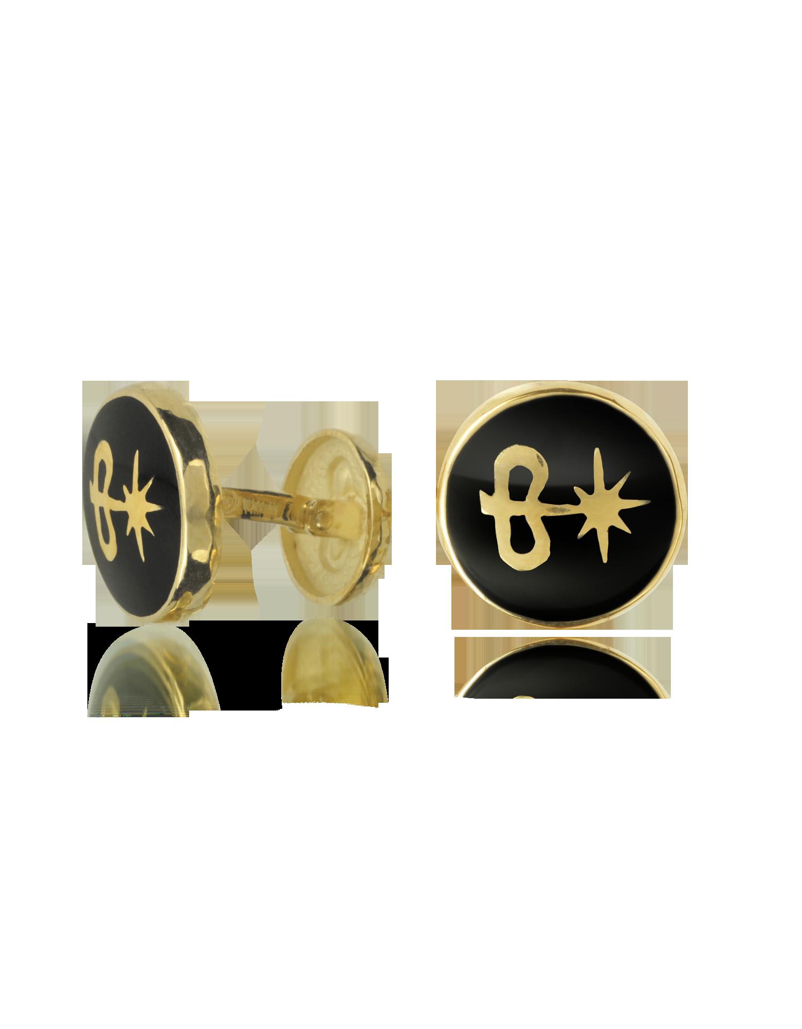 Image of Black Enamel 18K Gold Logo Cufflinks