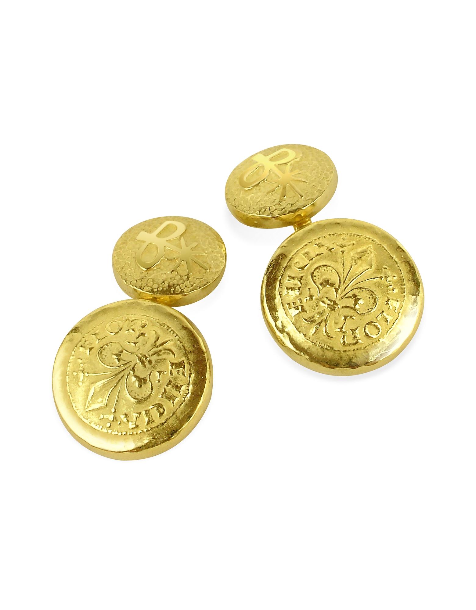 Fiorino - Запонки из Желтого Золота 18 карат с Флорентийским Узором Fleur-de-Lis