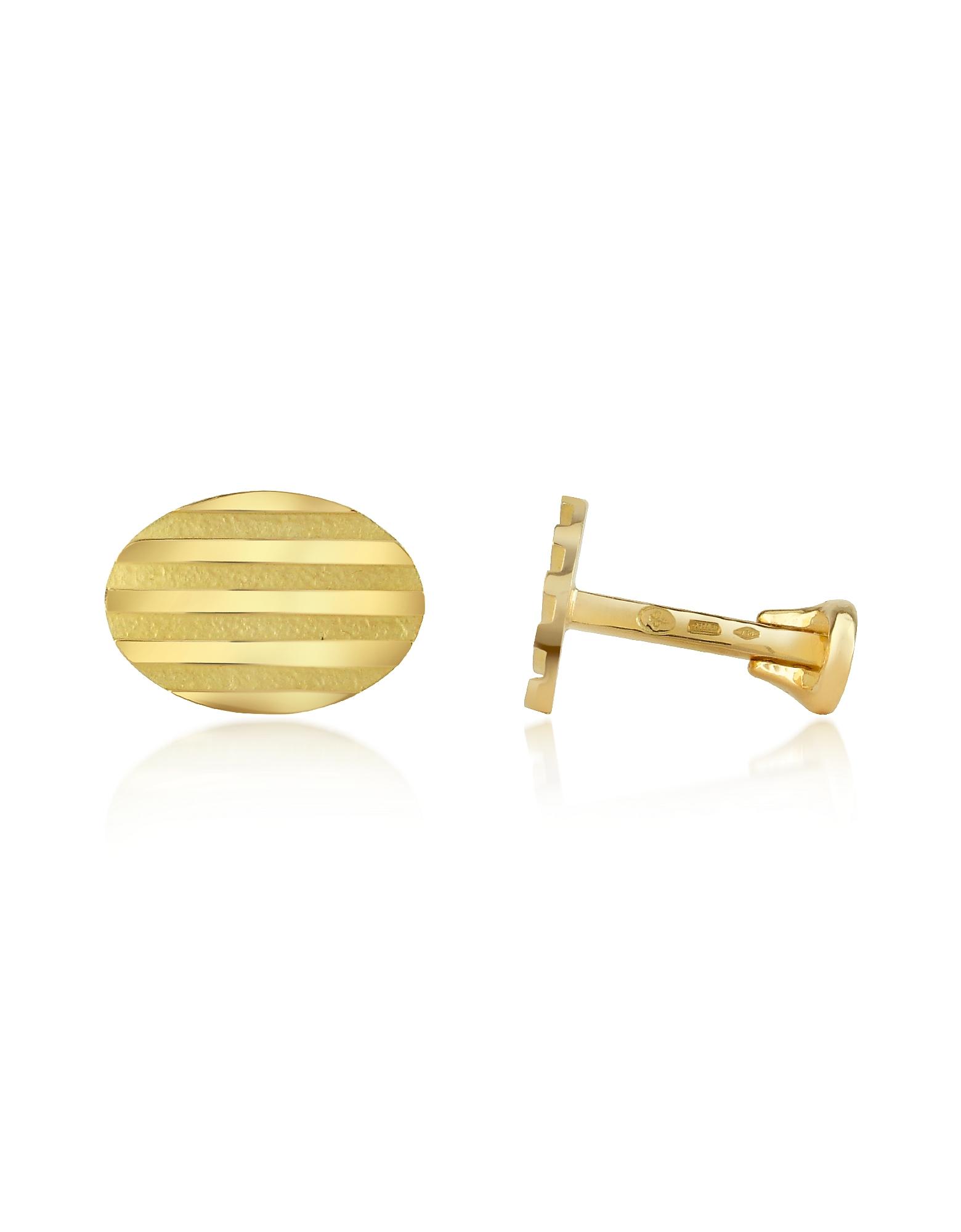 Stripes - Овальные Запонки из Желтого Золота 18 карат