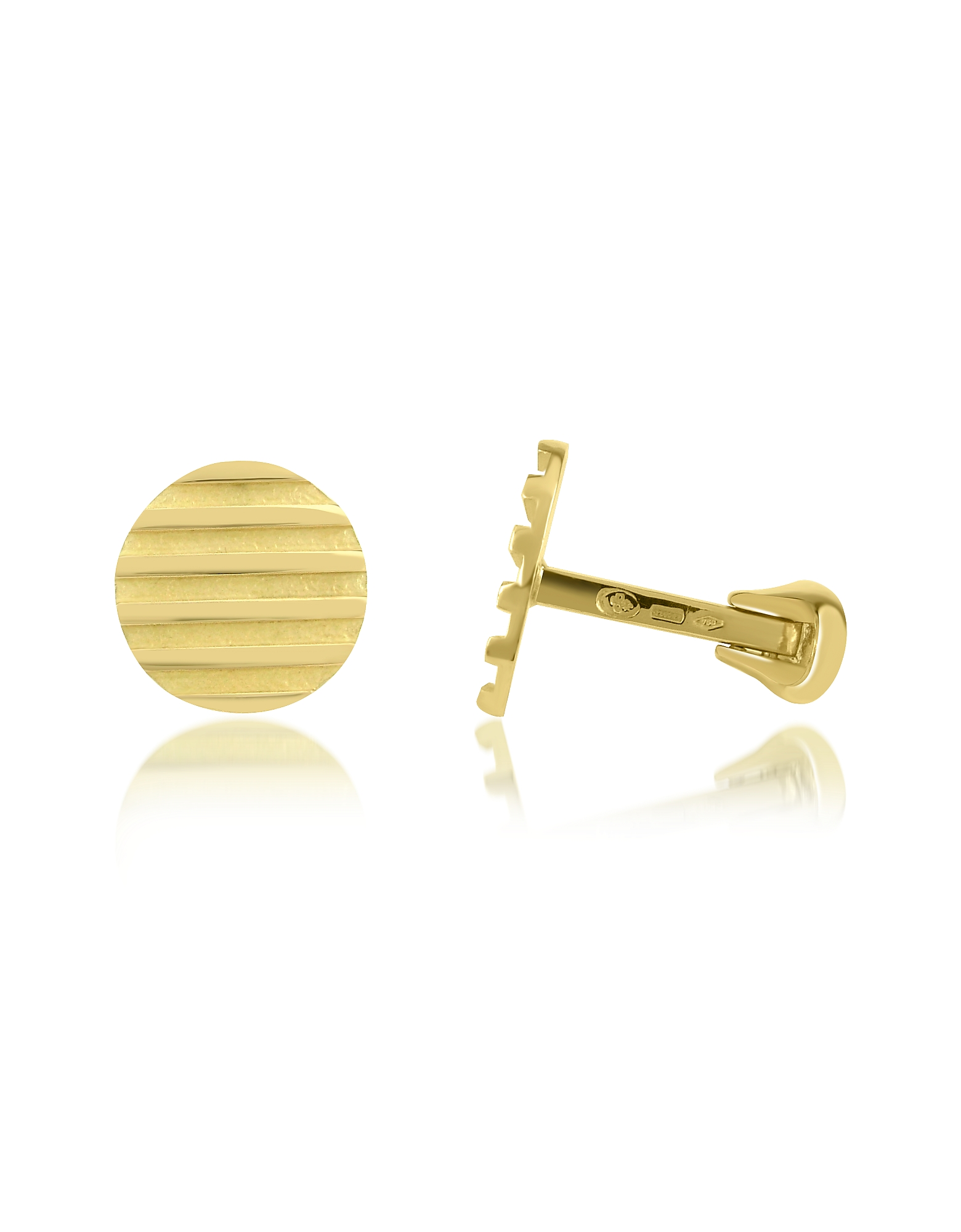 Torrini Cufflinks, Stripes - 18K Yellow Gold Round Cufflinks