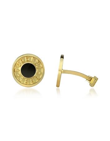 Torrini - Coin 1369 - Onyx and 18K Yellow Gold Round Cufflinks