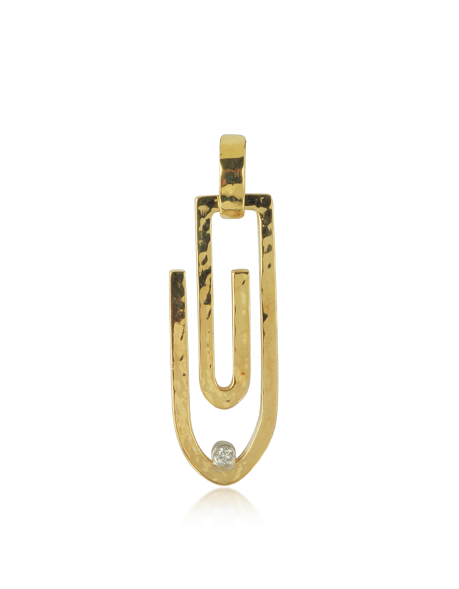 Torrini Designer Necklaces, Clips - 18K Yellow Gold Pendant with Diamond