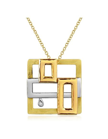 Torrini Collier or jaune 750/1000 et diamant 0.03Ct à motif cubiste