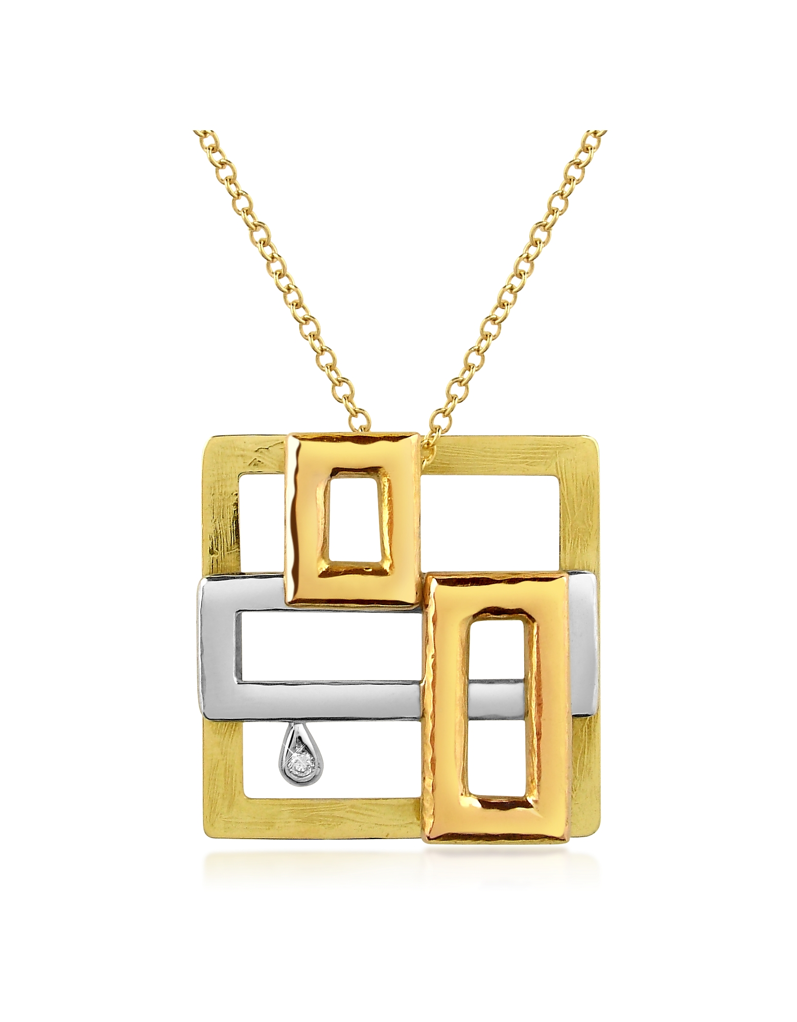 Torrini Necklaces, Cubisme Diamond 18K Gold Pendant Necklace