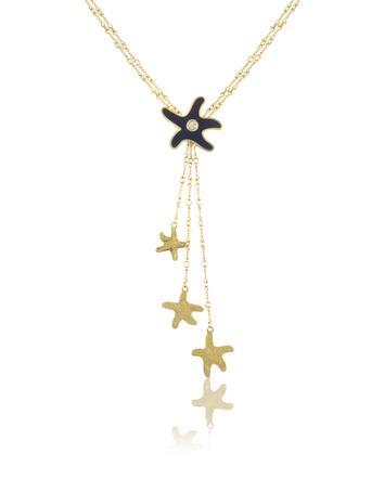 Torrini Enamel Starfish Drop 18K Gold Diamond Necklace