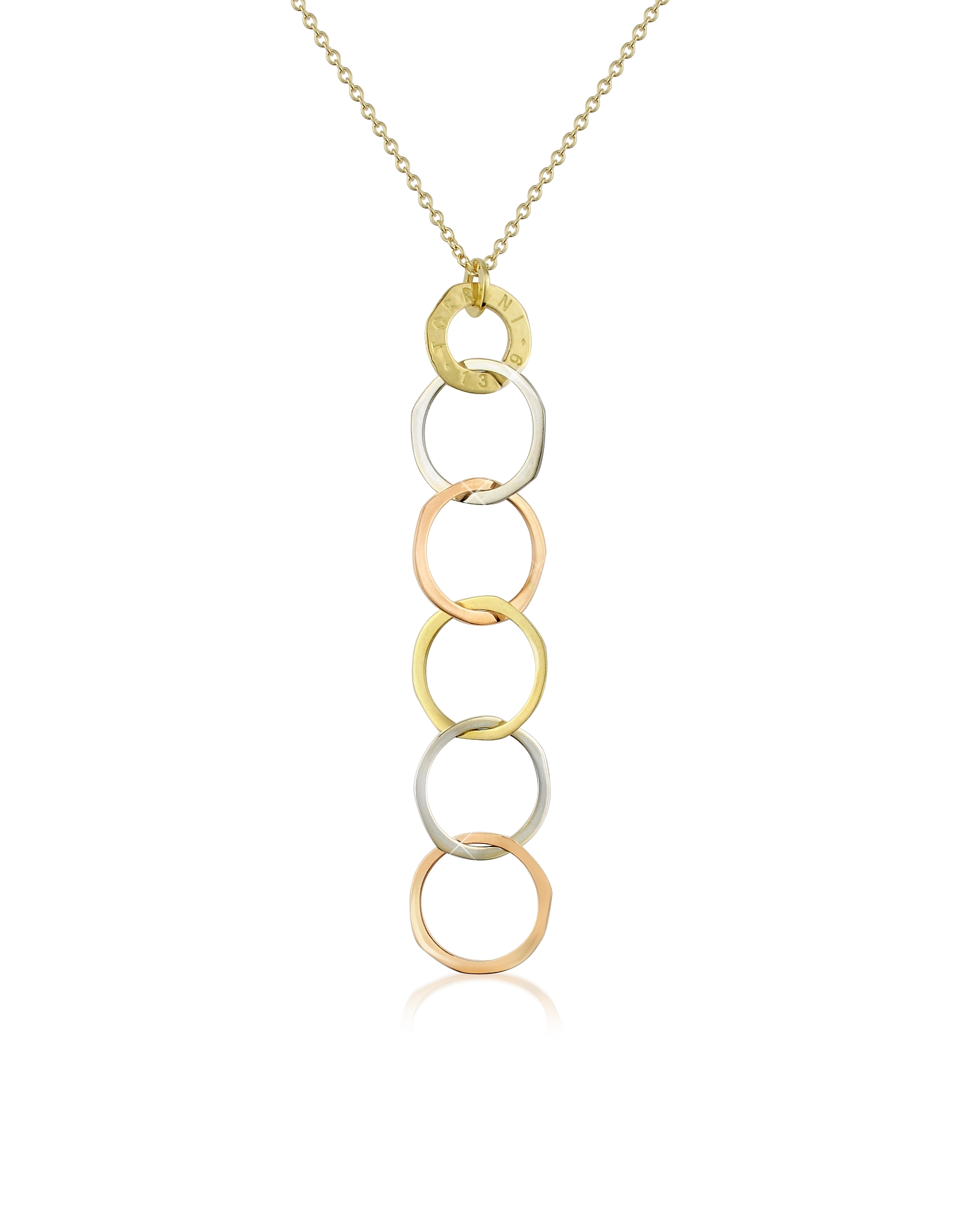 Torrini Necklaces, Fiesole - Three-tone 18K Gold Circles Drop Necklace