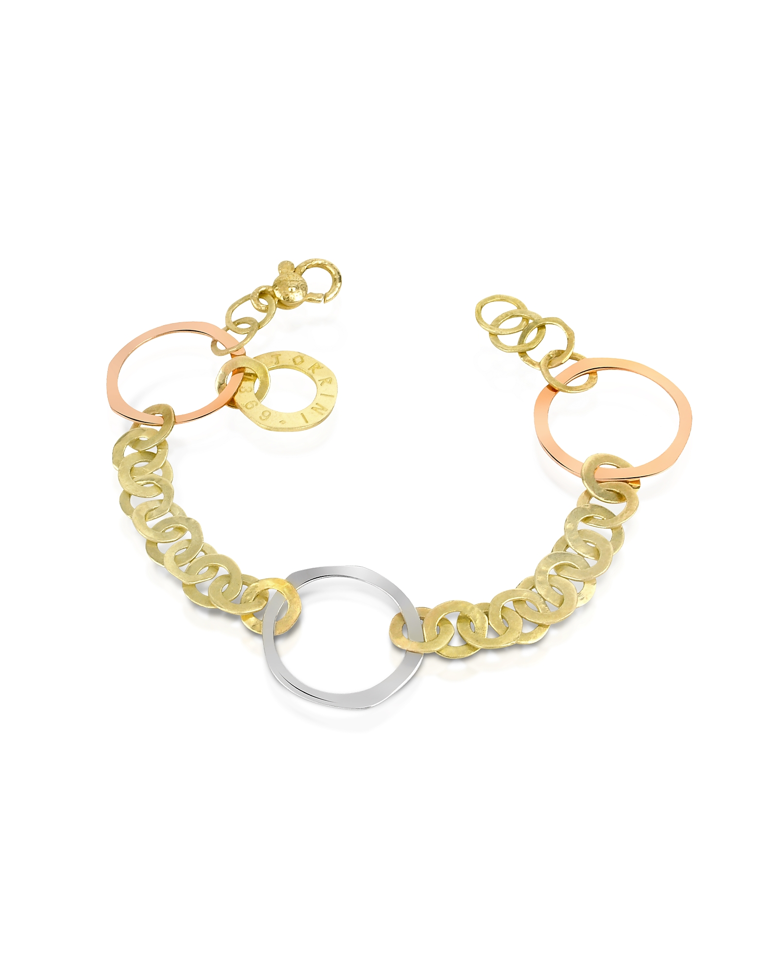 Fiesole-Bracciale con cerchi in oro 18ct tre-toni