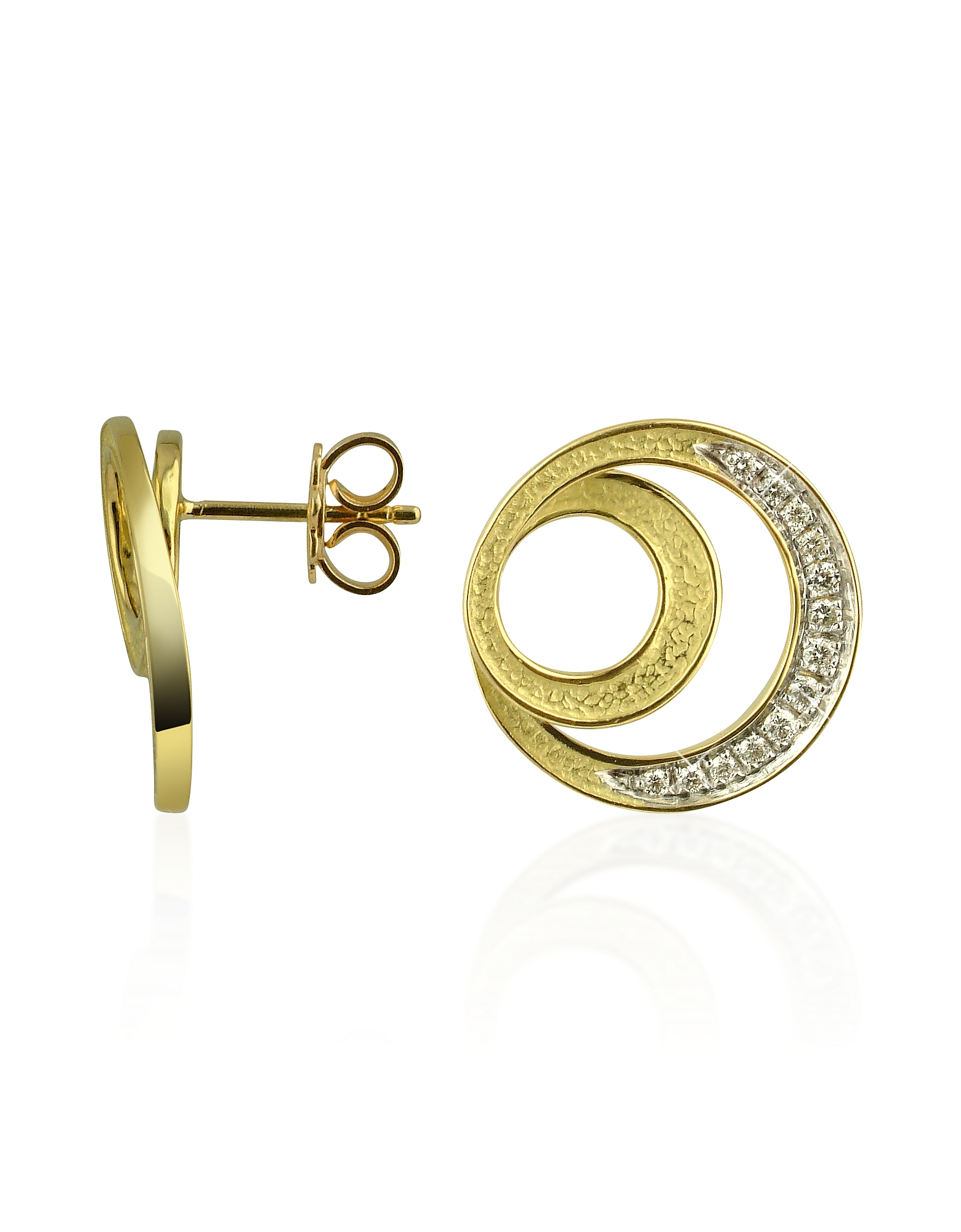 Torrini Designer Earrings, Infinity 18K Yellow Gold Diamond Earrings