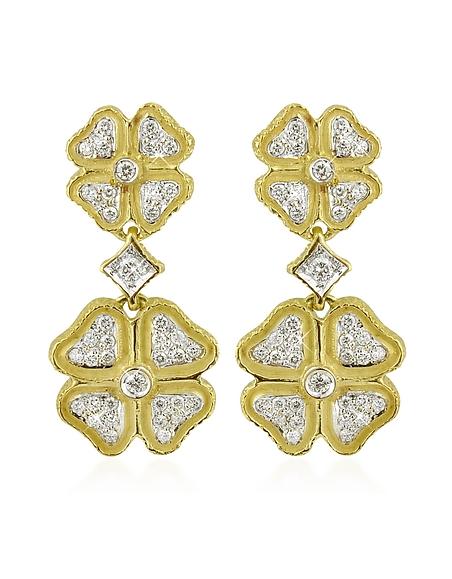 Foto Torrini Quadrifoglio Orecchini in Oro Nativo e Diamanti Naturali