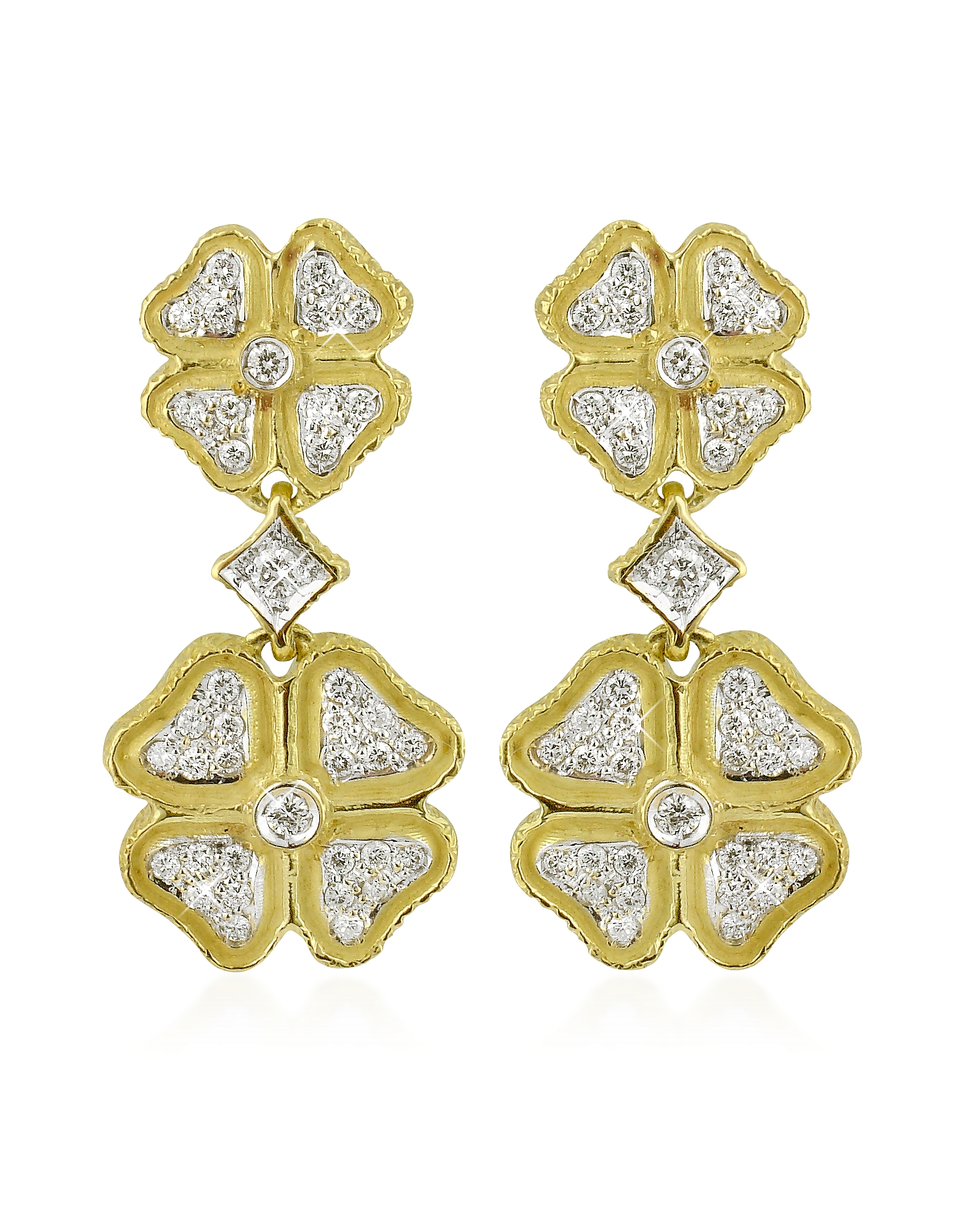 Torrini Designer Earrings, Quadrifoglio Diamond Four-Leaf Clover 18K Gold Earrings