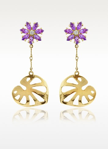 Pothos - Amethyst and Diamond Flower Drop 18K Gold  Earrings - Torrini