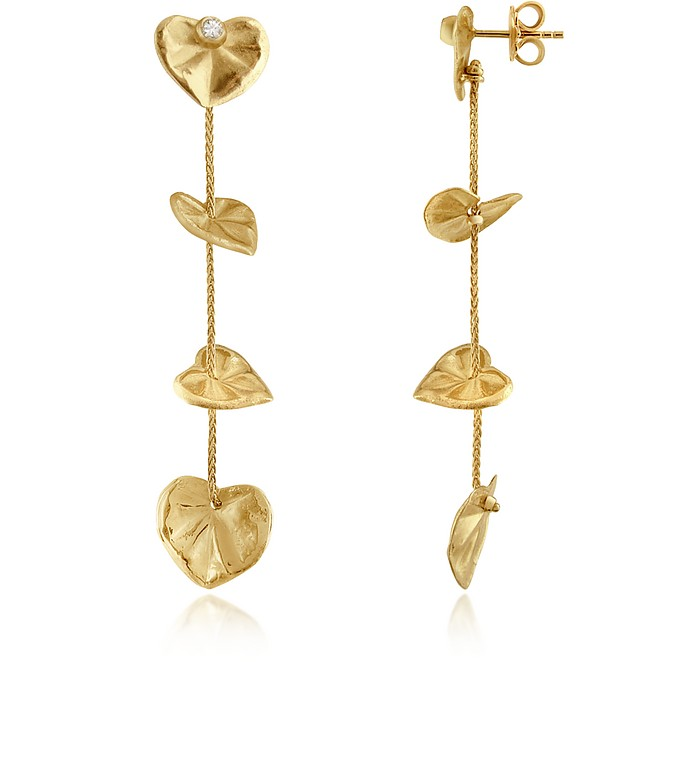 Leaf - Diamond 18K Yellow Gold Drop Earrings - Torrini