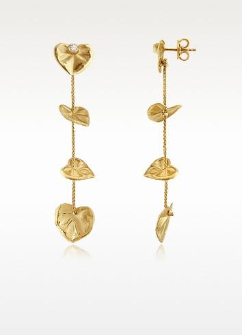 Leaf - Diamond 18K Yellow Gold Drop Earrings - Torrini