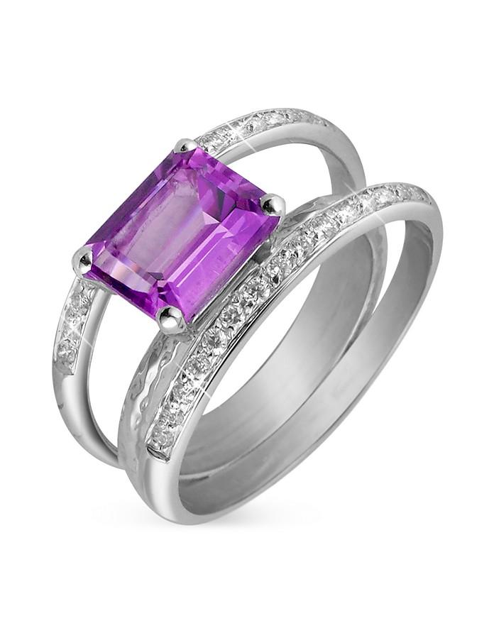 Kleio Amethyst and Diamond 18K Gold Ring - Torrini