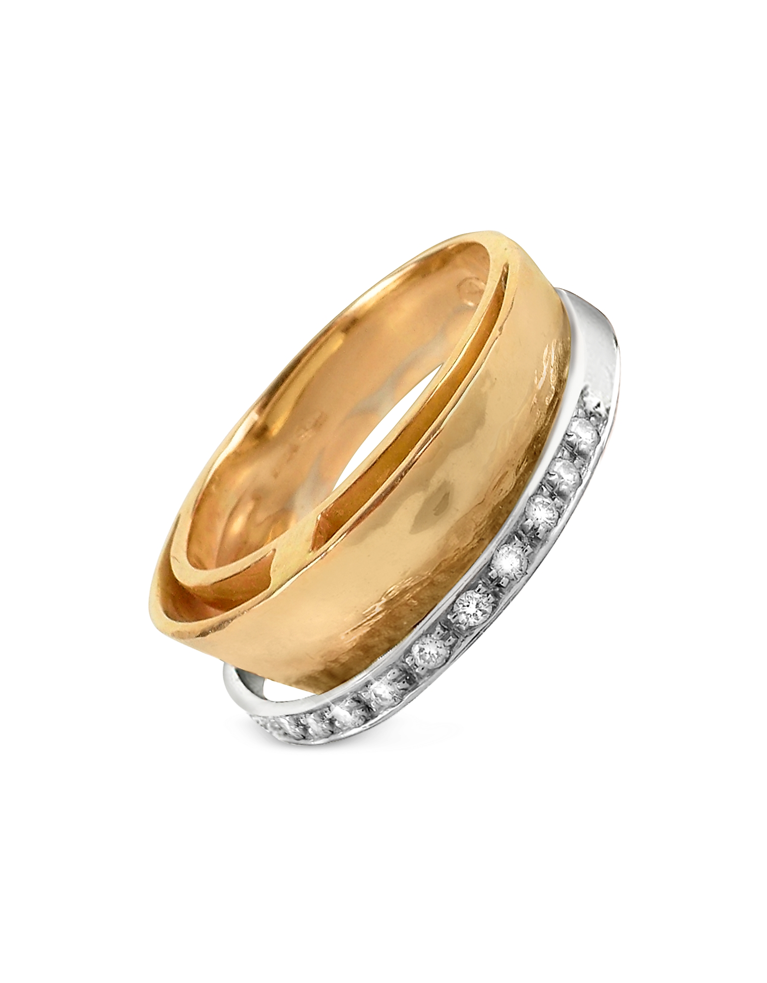 Torrini Rings, Tama - Diamond Channel 18K Yellow Gold Band Ring