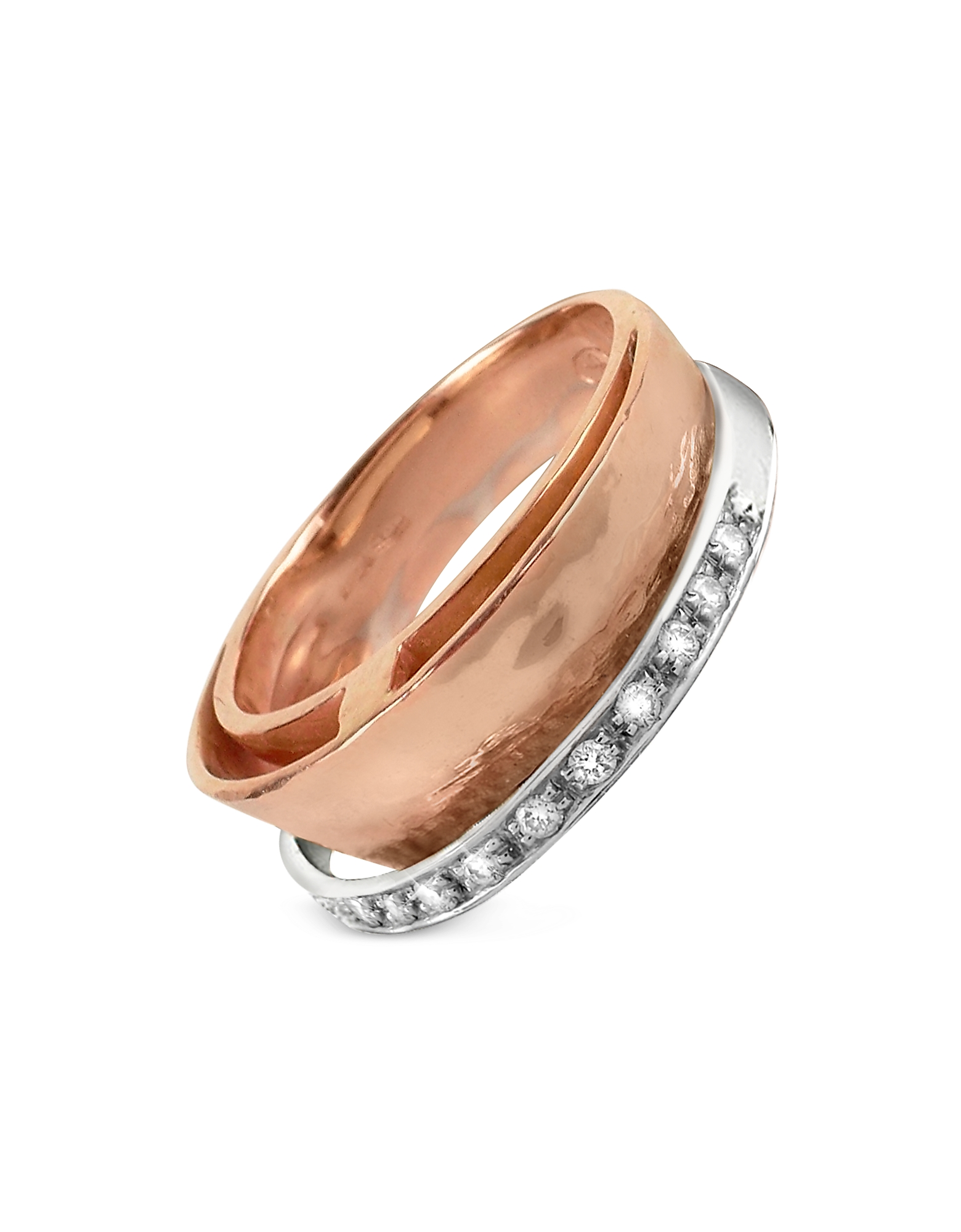 Torrini Rings, Tama - Diamond Channel 18K Rose Gold Band Ring